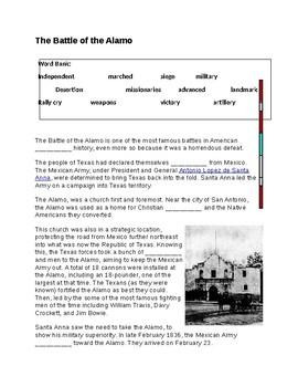 The Battle of the Alamo --  CLOZE Reading