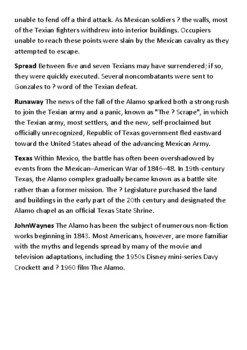 The Battle of the Alamo Crossword