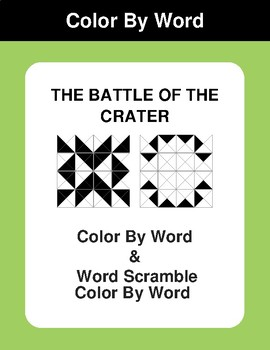 The Battle of the Crater - Color By Word & Color By Word Scramble Worksheets