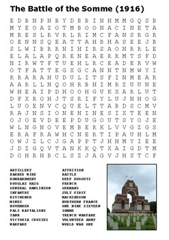 The Battle of the Somme Word Search - World War One