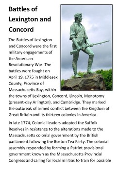 The Battles of Lexington and Concord Handout