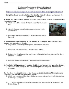 The Battles of Lexington and Concord Webquest