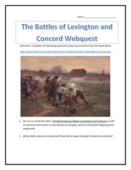 The Battles of Lexington and Concord- Webquest and Video Analysis with Key