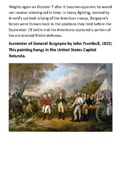 The Battles of Saratoga Handout