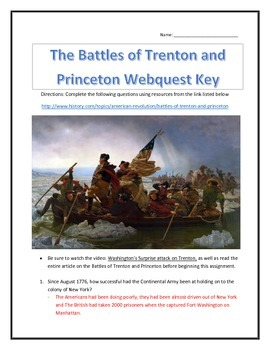 The Battles of Trenton and Princeton- Webquest and Video Analysis with Key