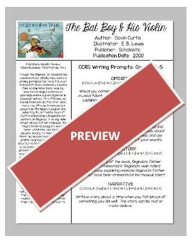 The Bay Boy and His Violin CCSS Picture Book WRITING PROMPTS, Grades 2, 3, 4, 5