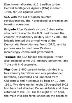 The Bay of Pigs Invasion Crossword