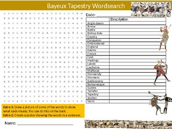The Bayeux Tapestry Wordsearch Sheet Starter Activity Keywords History