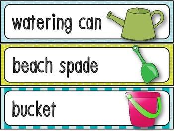 The Beach - 42 word wall vocabulary