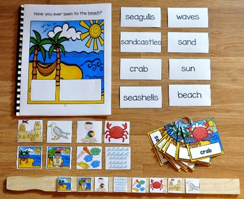 Beach Adapted Book and Vocabulary Activities
