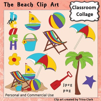 The Beach Clip Art -  Color  personal & commercial use