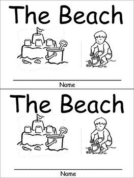 The Beach Emergent Reader for Kindergarten Preschool or Kindergarten