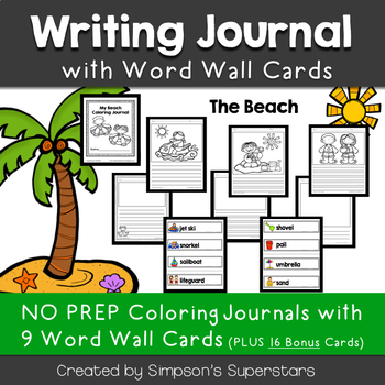 The Beach Writing Journal with Word Wall Cards