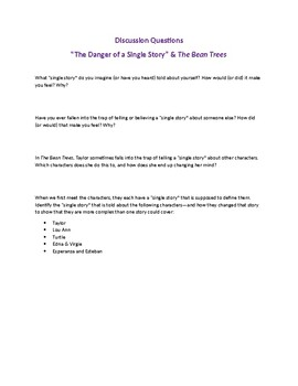 """The Bean Trees and """"The Danger of a Single Story"""" Reflection Questions"""