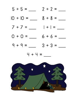 The Bear Facts Doubles Addition Practice (Sums of 0-20)