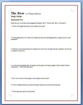 """The Bear"" - Faulkner - 22 study guide questions"
