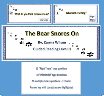 """The Bear Snores On"" - 20 Reading comprehension task cards with Q&A key"