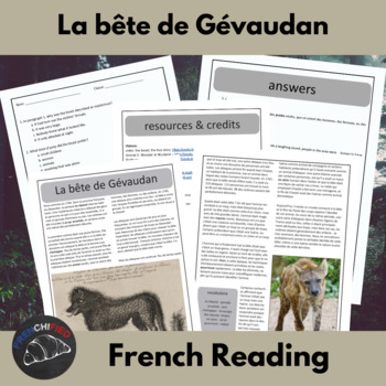 The Beast of Gevaudan - a short reading for intermediate/advanced French