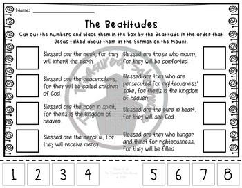 The Beatitudes Cut & Paste Worksheet Pack - Catholic
