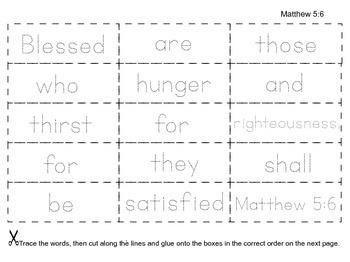 Beatitudes: Trace, Cut & Paste Scripture Memorization