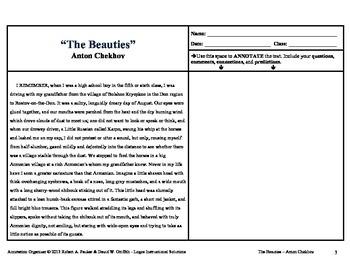 "ANTON CHEKHOV'S ""THE BEAUTIES"": Annotation Organizer"