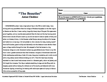 "ANTON CHEKHOV'S ""THE BEAUTIES"": Annotation Organizer"