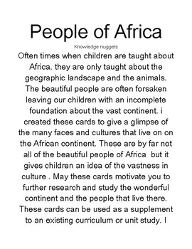 The Beautiful People of Africa