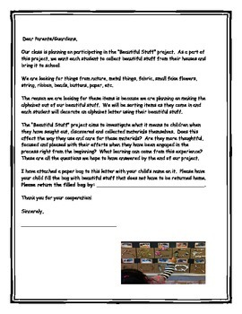 "The ""Beautiful Stuff Project"" (letter to go home explaining project)"