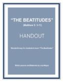 """The Beatitudes"" (Matthew 5) Handout (NKJV) w/TAK. No Prep. Print & Go"