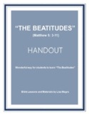 """The Beatitudes"" (Matthew 5) Handout (NKJV) w/TAK. No Prep"