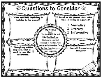 The Bee Tree Writing Task with Questions to Consider Pre-Writing Organizer