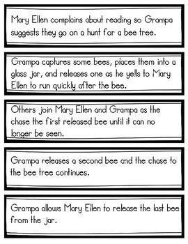 The Bee Tree by Patricia Polacco Sequence of Events Sorting Cards