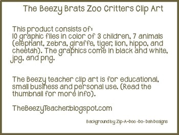 The Beezy Brats Zoo Critters Clipart