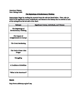 Note-Taking Guide for The Beginnings of Revolutionary Thinking
