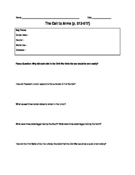 The Beginnings of the Civil War (Study Guide)