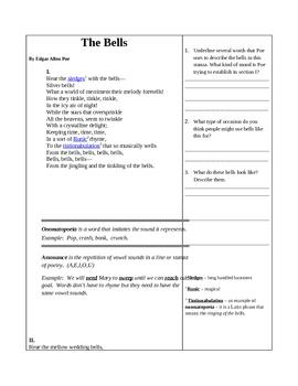 The Bells - Edgar Allen Poe- Reading assignment handout