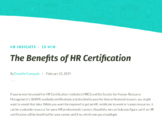 The Benefits of HR Certification