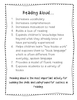The Benefits of Reading Aloud: A Handout for Parents, Volunteers, or Teachers