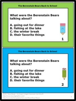 The Berenstain Bears Back to School Literacy Activity