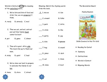 The Berenstain Bears' Family Reunion Comprehension Tri-fold