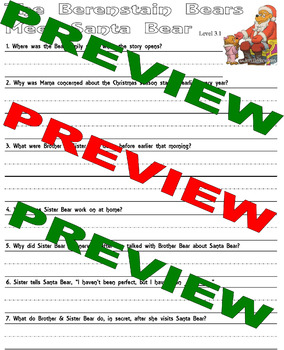 The Berenstain Bears Meet Santa Bear Comprehension Activity Packet * Lined Paper