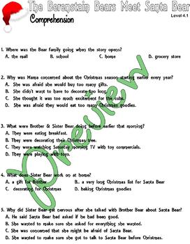 The Berenstain Bears Meet Santa Bear :Comprehension Multiple Choice : Level 3.1
