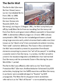 The Berlin Wall Comprehension and Questions Activity