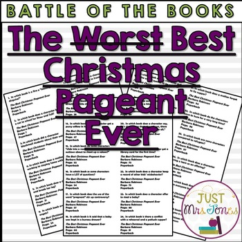 The Best Christmas Pageant Ever Battle of the Books Trivia Questions