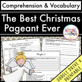 The Best Christmas Pageant Ever: Comprehension and Vocabulary by chapter