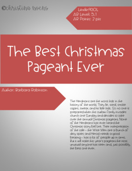 The Best Christmas Pageant Ever Digital Comprehension Questions