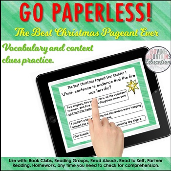 Google Classroom™ The Best Christmas Pageant Ever Sample Self Checking Task Card
