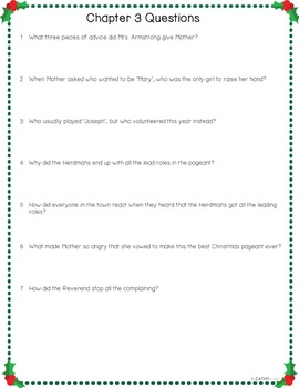 The Best Christmas Pageant Ever, Questions for Every Chapter, Answer Key