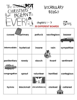 The Best Christmas Pageant Ever Vocabulary Bingo
