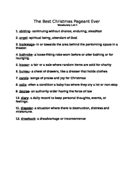 The Best Christmas Pageant Ever Vocabulary List with TEST